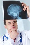 Doctor with X-ray picture. Male doctor examines  X-ray picture of a human cranium Stock Photos