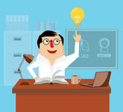 Doctor is reading book at desk in office vector illustration. Royalty Free Stock Image