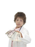 A doctor receiving money Stock Photos