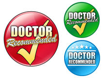 Doctor Recommended Logo Circles. Choose from three, circular doctor recommended icons in red, green and blue Stock Image