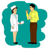 The doctor recommends the patient to cure the disease, vector cartoon doodle illustration. Royalty Free Stock Image