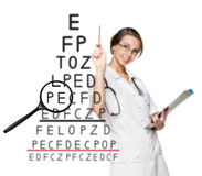 Doctor recording the results an eyesight test Royalty Free Stock Images