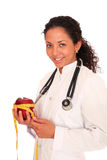 Doctor with red apple Royalty Free Stock Images
