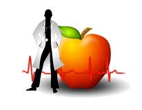 Doctor With Red Apple And EKG. An illustration featuring a doctor silhouette standing in front of a red apple with ekg line Royalty Free Stock Photos