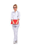 Doctor with red clipboard Royalty Free Stock Photos