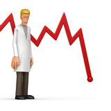 Doctor with red diagram Stock Images