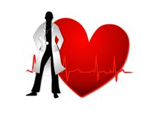Doctor With Red Heart EKG Line. An illustration featuring a doctor silhouette standing in front of a red heart with ekg line Stock Photos