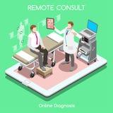 Doctor remoto 01 persona isométrica Fotografía de archivo