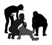 Doctor rescue first aid silhouette. Patient man collapsed in unconscious on street. Sneak attack victim rescue. CPR rescue team, doctor and paramedic royalty free illustration
