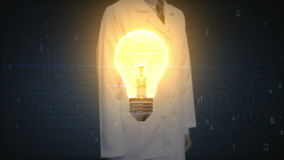 Doctor, researcher touching bulb light, showing IDEA concept. Doctor, researcher touching bulb light, showing IDEA concept royalty free illustration