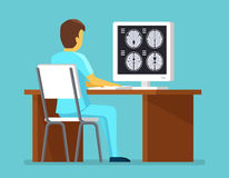 Doctor researches results of MRI scan. Health and care vector concept Royalty Free Stock Photos