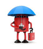 Doctor robot with umbrella Royalty Free Stock Image