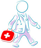 Doctor run to first aid. Brush stroke cartoon image royalty free illustration
