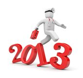 Doctor run to new year Royalty Free Stock Photos