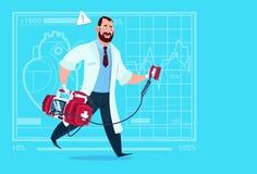 Doctor Running With Defibrillator Medical Clinics Worker Reanimation Hospital. Flat Vector Illustration Stock Photo