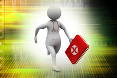 Doctor running with first aid box. Medical concept Stock Photos