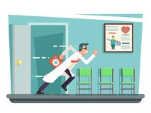 Doctor running out consulting room door hurry medical clinic cartoon character flat design vector illustration. Doctor running out consulting door room hurry vector illustration