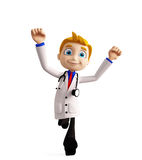 Doctor with running pose Royalty Free Stock Images