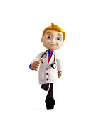 Doctor with running pose Royalty Free Stock Photography