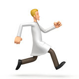 Doctor runs. Abstract cartoon scientist running sideways on a white background royalty free illustration