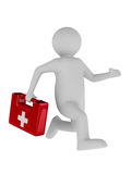Doctor runs to aid. Isolated 3D Royalty Free Stock Photos