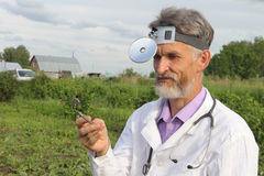 Doctor  in rural areas Royalty Free Stock Photos