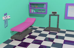 Doctor& x27; s-Büro-Prüfungs-Raum mit zugänglicher Ausrüstung Stockbild