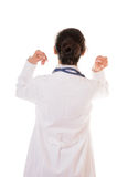Doctor's back. Back of doctor with hands near her head isolated on white background Stock Image