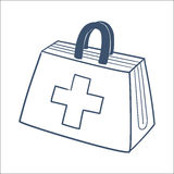 Doctor's first aid kit isolated on white. Sketch vector element for medical or health care design Royalty Free Stock Photos