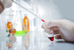 Doctor's hand in glove with blood. In laboratory Stock Photos