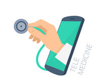 Doctor`s hand holding stethoscope through the phone screen check Stock Images