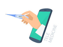 Doctor`s hand holding thermometer through the phone screen measu Stock Photography
