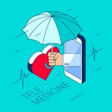 Doctor`s hand is holding an umbrella and protect a heart. Stock Photos