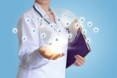 Doctor`s in the network with their patients. Doctor`s in the network with their patients concept design royalty free stock photo