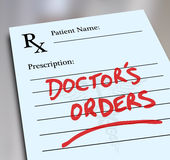 Doctor's Orders Prescription Medicine Health Care Form Royalty Free Stock Image