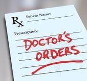Doctor's Orders Prescription Medicine Health Care Form Royalty Free Stock Image