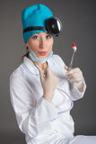 Doctor`s portrait. The woman the doctor in good mood. We wish a good health Stock Photography