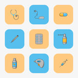 Doctor`s set of simple icons for treating diseases such as flu and chill.  Stock Photos