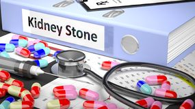Doctor's table with medicaments and medical supplies Stock Image