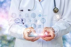 Doctor`s tablet is gaining prescription in the correspondence. Stock Photos