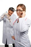 Doctor's teamwork. Isolated. Royalty Free Stock Images