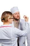 Doctor's teamwork. Isolated. Royalty Free Stock Photos
