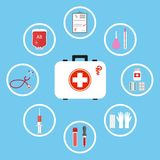 Doctor`s tools. Medical surgical equipment: stethoscope, syringe, blood pressure meter, first aid suitcase, pills and tablets. Set of icons isolated on blue Stock Photos