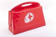Doctor's toy bag. Againts a white background Stock Photography