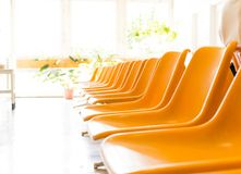 Doctor's waiting room with chairs and potted plant.  Stock Photography