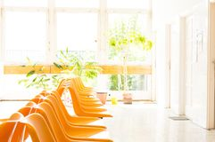 Doctor's waiting room with chairs and potted plant.  Royalty Free Stock Photography