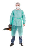 Doctor with saw Royalty Free Stock Image