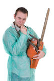 Doctor with saw Royalty Free Stock Photography
