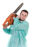 Doctor with saw Royalty Free Stock Photos