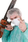 Doctor with saw Stock Photography